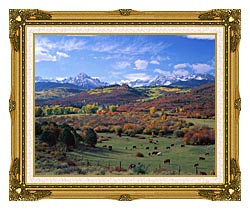 Visions of America Sneffels Mountain Range Colorado canvas with museum ornate gold frame