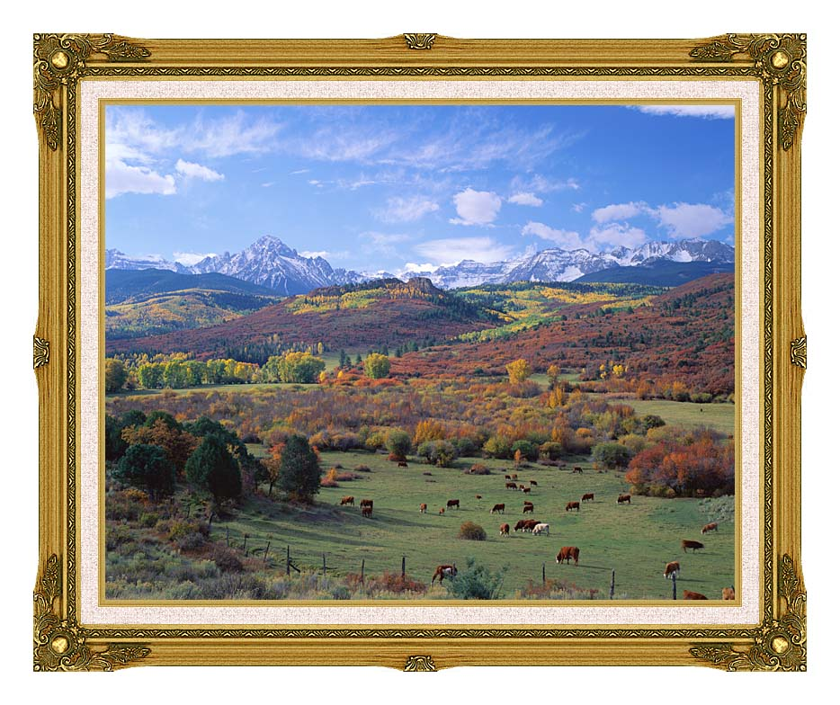 Visions of America Sneffels Mountain Range Colorado with Museum Ornate Frame w/Liner