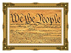 Visions of America Preamble To The U S Constitution   We The People canvas with museum ornate gold frame