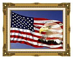Visions of America American Flag  And A Bald Eagle canvas with museum ornate gold frame