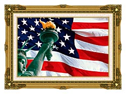 Visions of America Statue Of Liberty And American Flag canvas with museum ornate gold frame