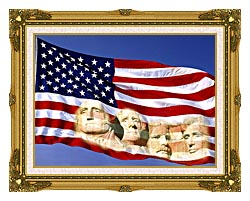 Visions of America American Flag And Mount Rushmore Presidents canvas with museum ornate gold frame