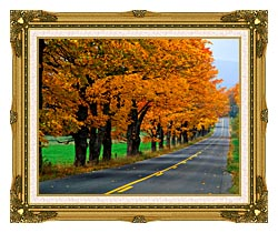 Visions of America An Autumn Road In New England canvas with museum ornate gold frame