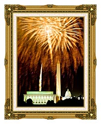 Visions of America Fourth Of July Celebration With Fireworks Exploding Over The Lincoln Memorial Washington Monument And U S Capitol Washington D C canvas with museum ornate gold frame