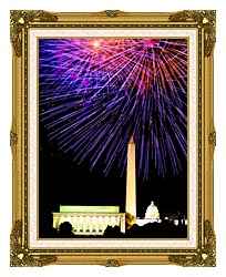Visions of America Patriotic Fourth Of July Celebration With Fireworks canvas with museum ornate gold frame