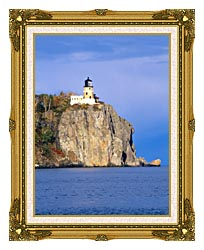 Visions of America Split Rock Lighthouse Minnesota canvas with museum ornate gold frame