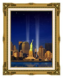 Visions of America World Trade Center Light Memorial canvas with museum ornate gold frame