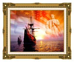 Visions of America Christopher Columbus American Flag Sailing Ships canvas with museum ornate gold frame
