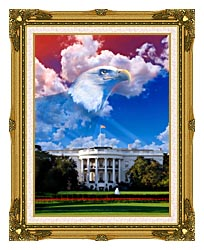Visions of America The White House With American Eagle canvas with museum ornate gold frame