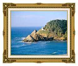 Visions of America Heceta Lighthouse Oregon canvas with museum ornate gold frame