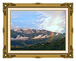 Visions of America Rainbow Over Topa Topa Mountains In Ojai California canvas with museum ornate gold frame